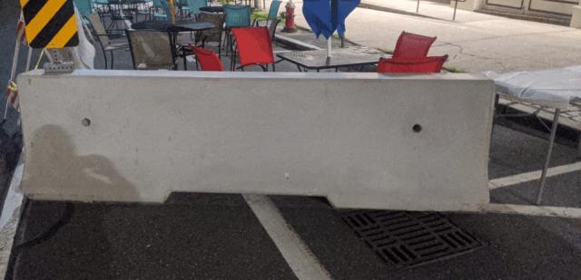 Unpainted jersey barrier