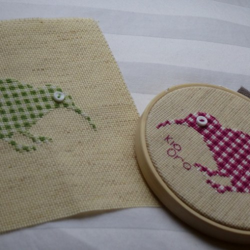 two kiwi birds cross stitch