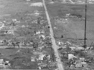 Aerial view of the tornado's path through a suburb of Marion.