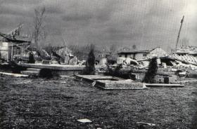 A home along Wigger Street in Marion, Indiana reduced to its foundation by the Alto tornado.