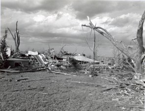 A home destroyed on the right edge of the tornado's path.