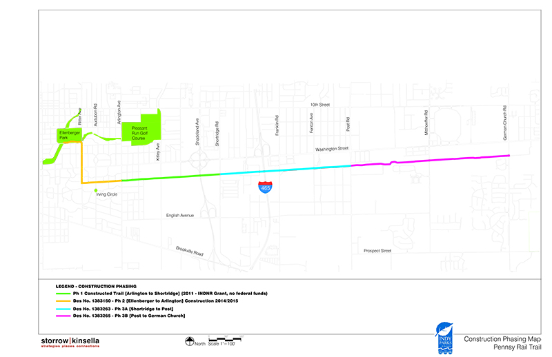 Indianapolis Pennsy Rail Trail Construction Phasing Map