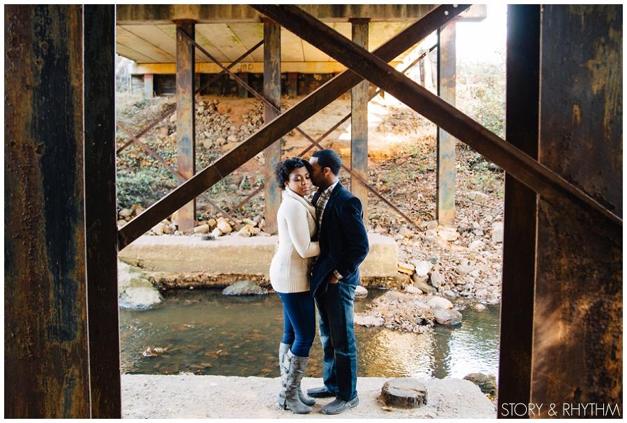 Engagement photos at Yates Mill Pond Park