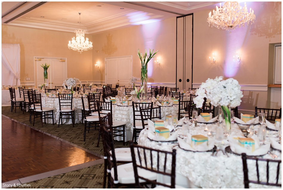 White flowers at wedding reception