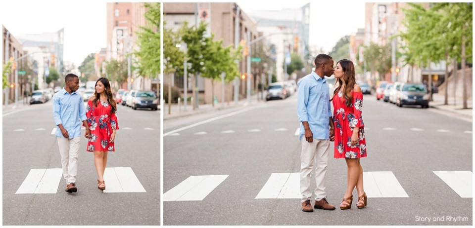 City engagement photos in Raleigh Durham Charlotte