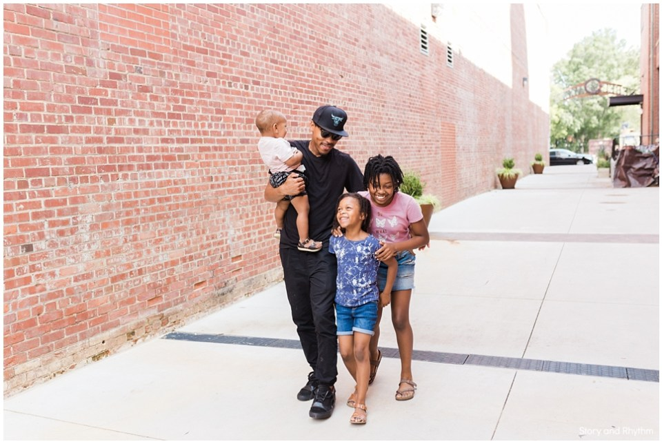 Walking with kids in South End Charlotte