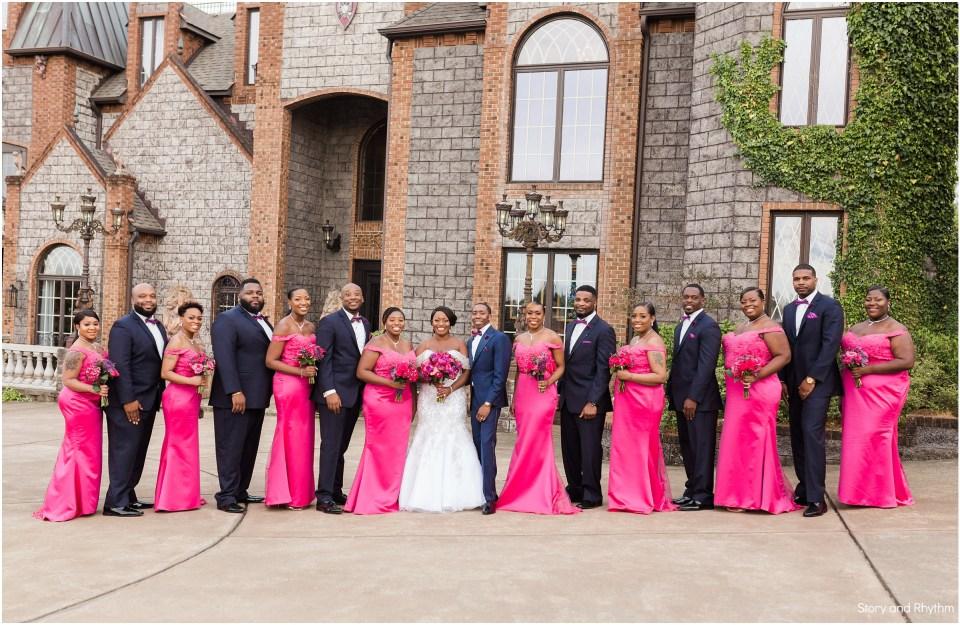 Pink and Navy wedding party photos at Barclay Villa