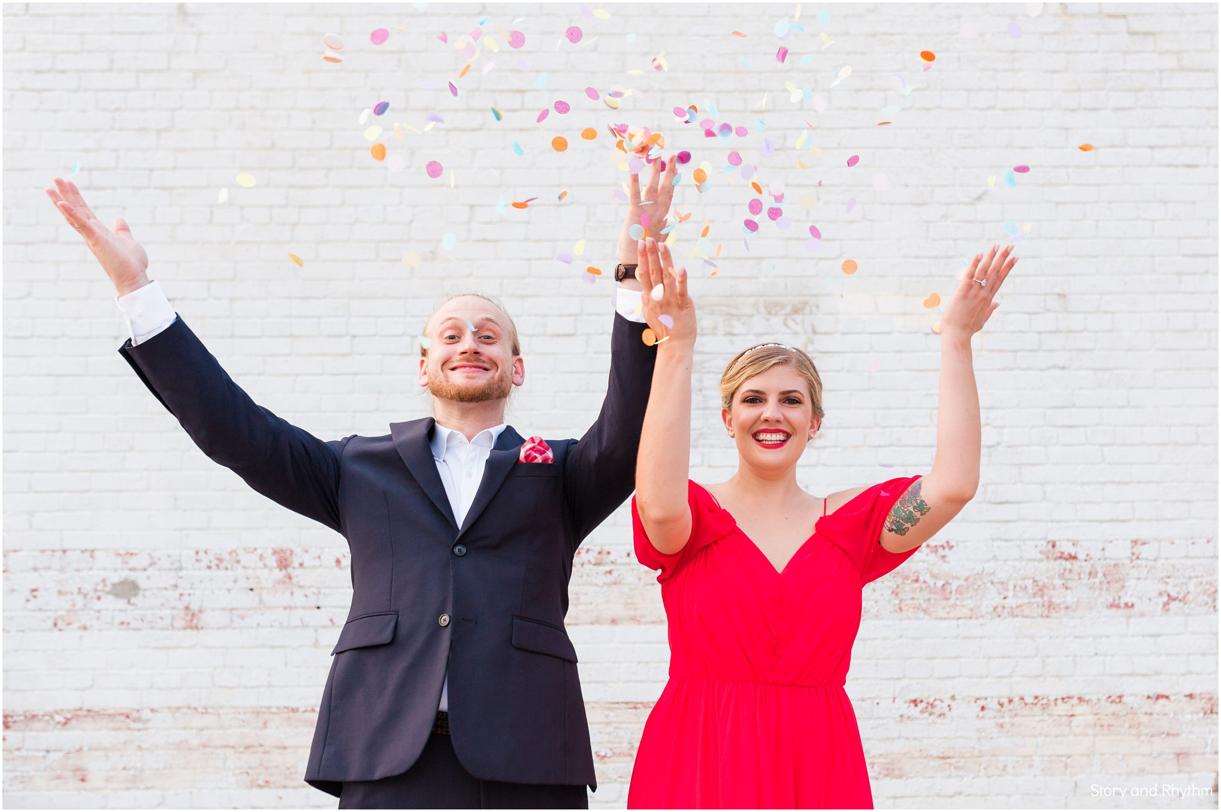 Fun engagement photo ideas with confetti