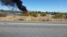 A car on fire on my way into Nevada.