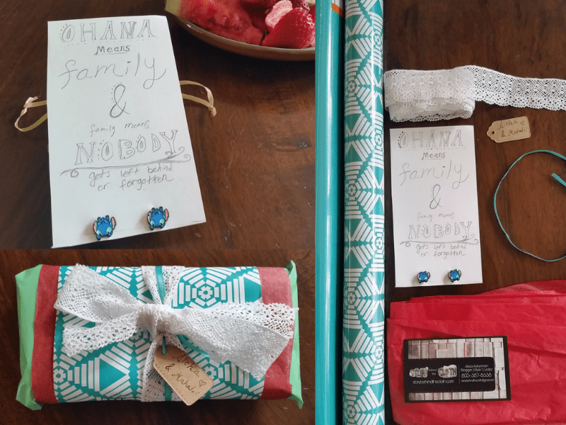 Poshmark @BehindTheCloth Stitch Studs Aloha and Mahalo Packaging Collage