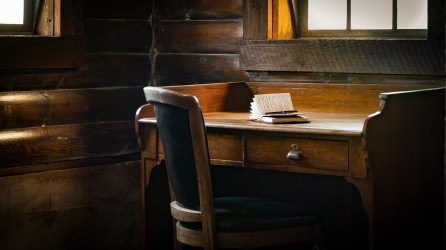 Photograph of the writing room at Storybook Barn MO. A venue for weddings, events and retreats.