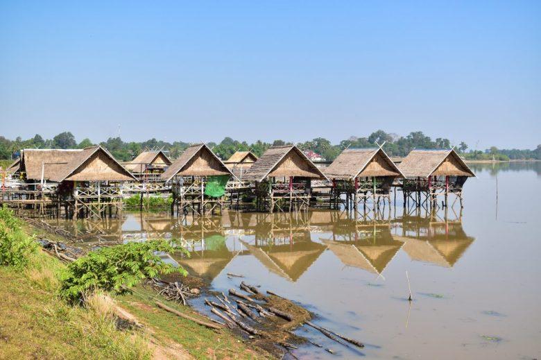 Stilted restaurants on Bungva Lake Savannakhet