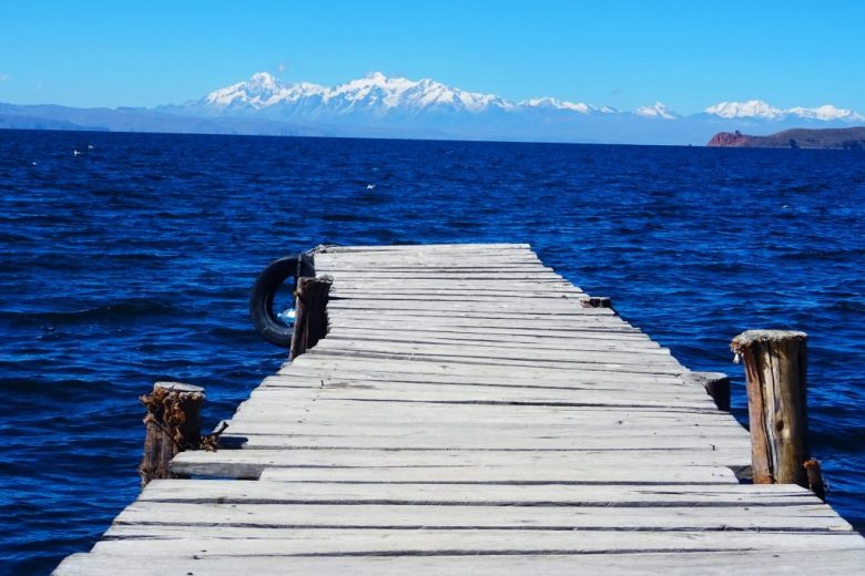 Lake Titicaca Bolivia style: looking out on Isla de la Luna from a jetty on Isla Del Sol