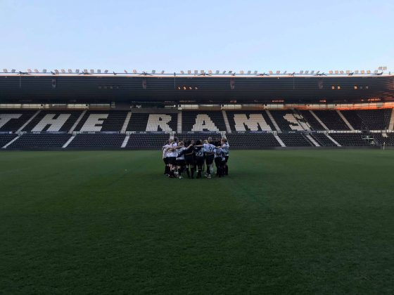 Derby County team huddle
