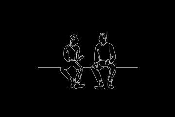 Outline of two people talking