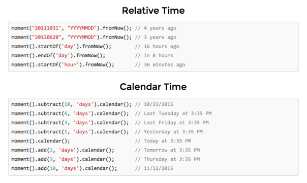 Moment.js calendar and relative time options (via Moment.js)