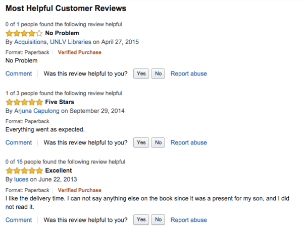 Design of product review information for a book