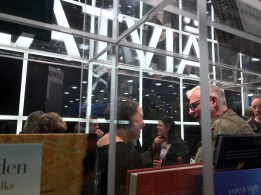 Cocktail reception at the Latvia stand.