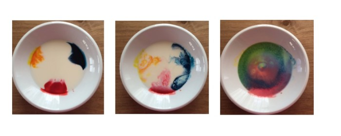 Colour mixing milk experiment Story Snug