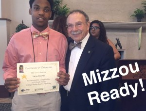 Stitchers Teens are delegates at the University of Missouri's Youth Futures symposium, Columbia. Taron Booker with Chancellor Loftin, July 2015