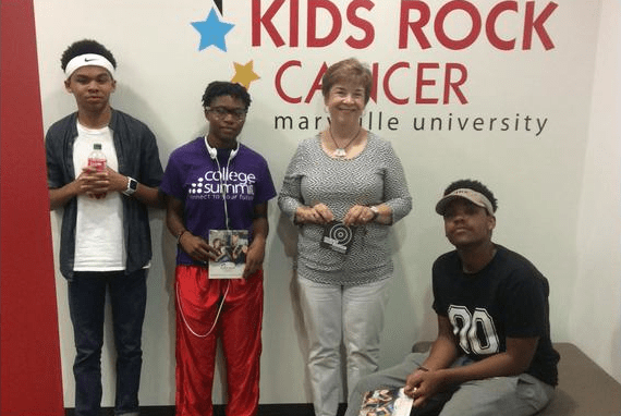 Stitchers Teens talk with Dr. Cynthis Briggs, director of Music Therapy at Maryville University. July, 2015
