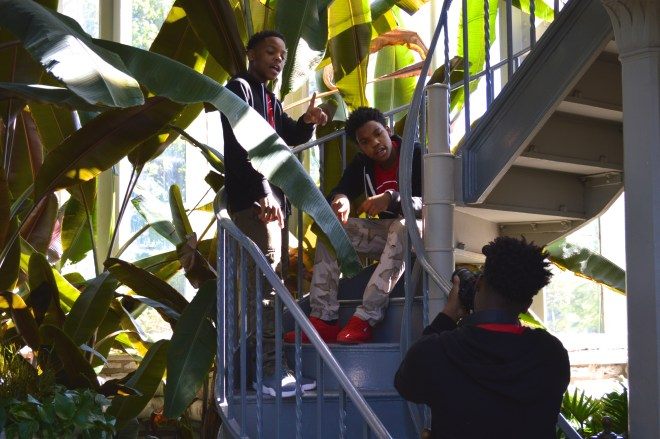 Stitchers Teens Jaquan, Toryon and Taron filming the music video for their song Not Another 1! Photo Susan Colangelo