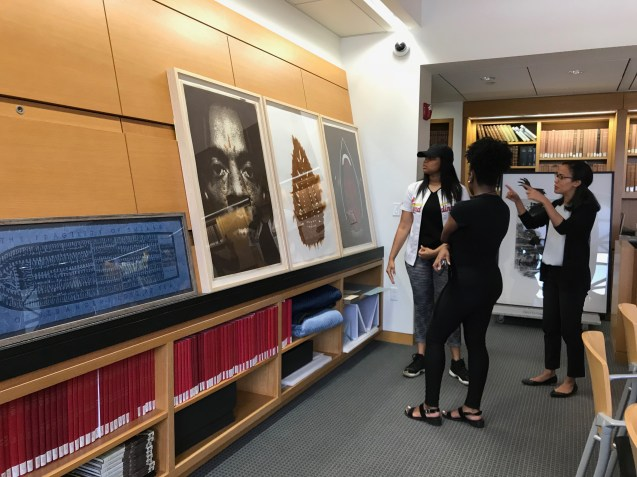 Story Stitchers view works on paper by Willie Cole, Kara Walker, Lorna Simpson and more at the St. Louis Art Museum 's Study Room for Prints, Drawings, and Photographs. June 19, 2018