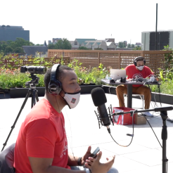 Branden Lewis at a StitchCast Studio recording on the .ZACK Rooftop