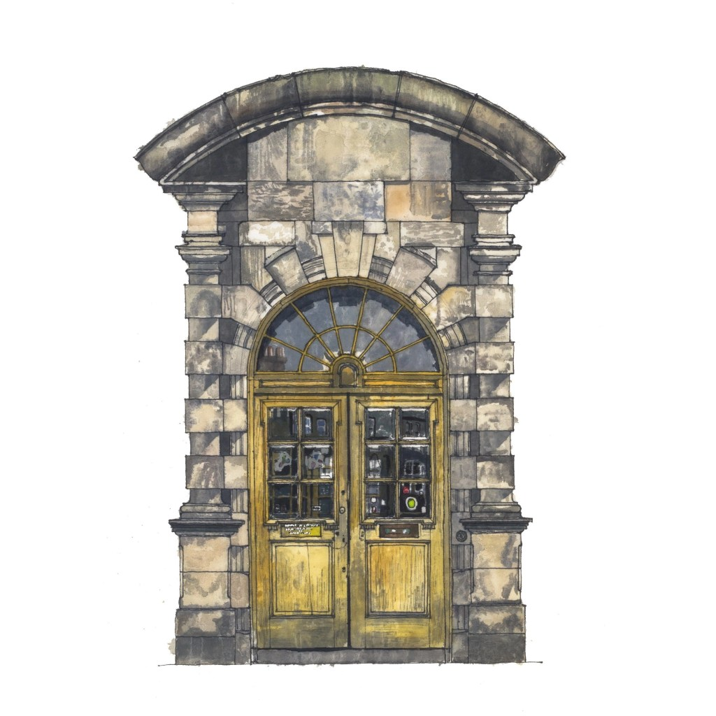 Architectural drawing of the Summerhall Front Door by Will Knight