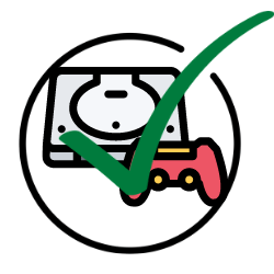 A games console with a green tick over it