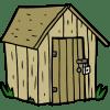 A cartoon-style garden shed