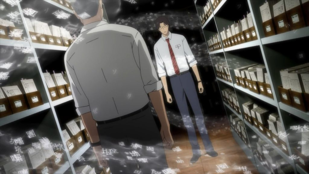 Editor-in-chief Araki shows Majime into the reference room.