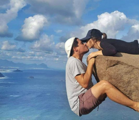 Kissing while hanging off the cliff | How To Get To Pedra Do Telegrafo, Rio De Janeiro (To Hang Off The Cliff)