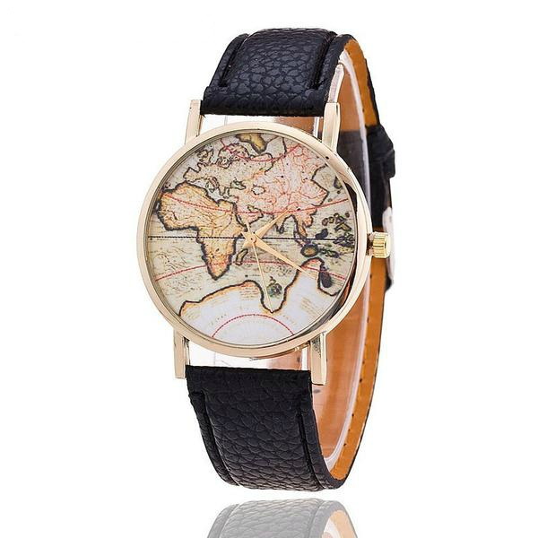 Globetrotter World Map Watch - Summer Travel Gifts For Female Travelers