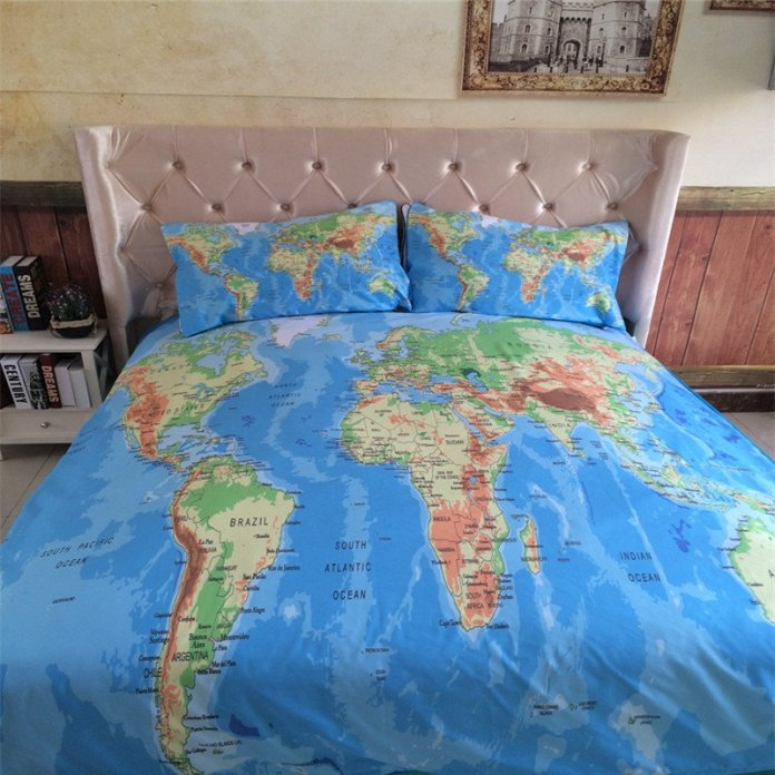 Vivid World Map Bed Set - Summer Travel Gifts For Female Travelers