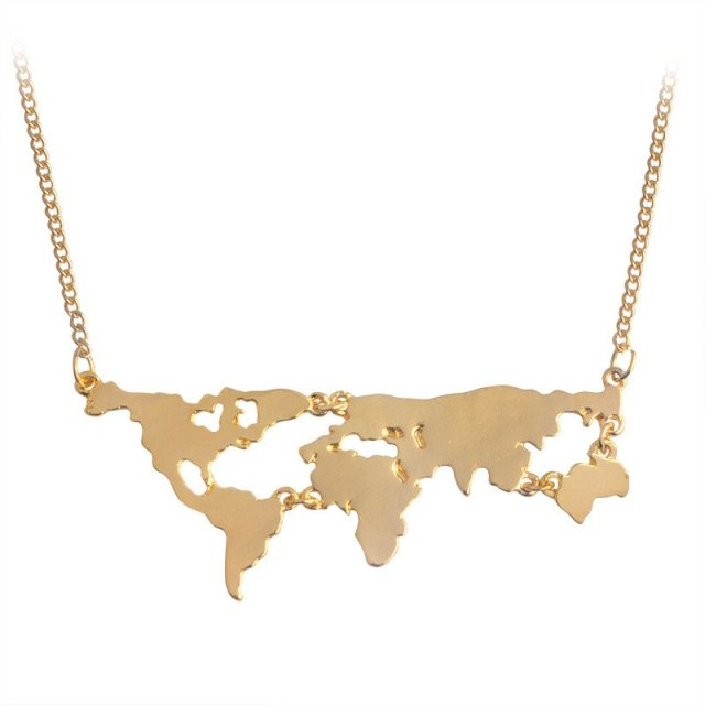 Wanderlust Vibes World Map Necklace - Summer Travel Gifts For Female Travelers