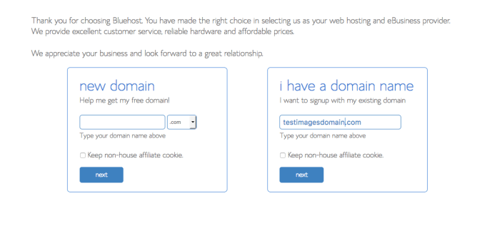 How to start a self-hosted WordPress blog with Bluehost - Step 2.3: Choose or import your domain