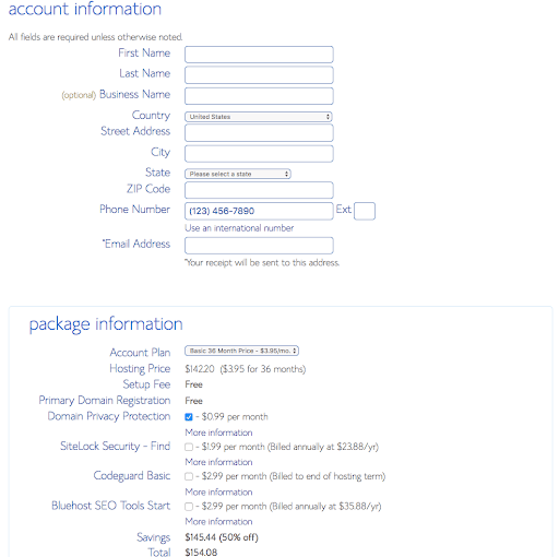 How to start a self-hosted WordPress blog with Bluehost - Step 2.4: Fill out your details