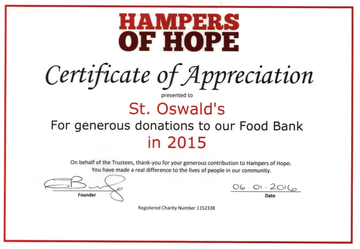 Thank You… for supporting Hampers of Hope