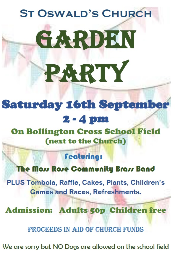 Coming up – Garden Party – 16 September 2017