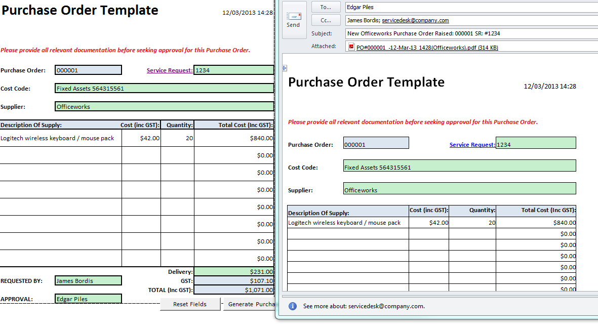 macro enabled purchase order template
