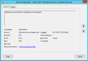 Update Services failed its initialization and stopped.