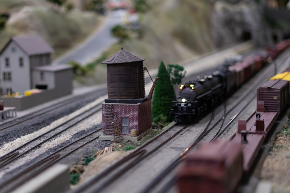 A model train at the Holly Railroad Club