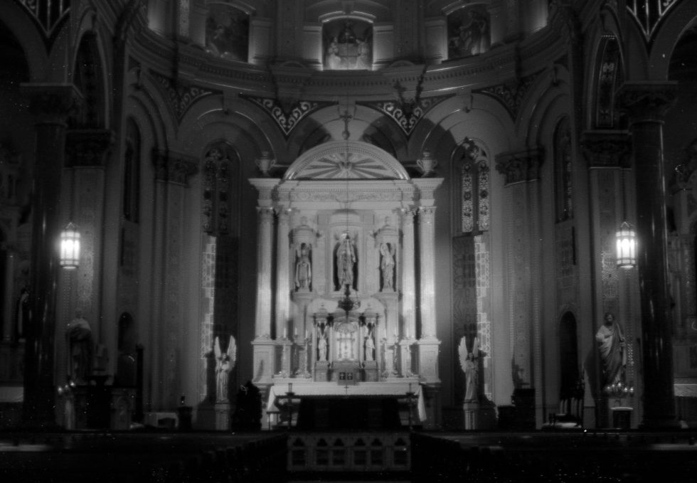 Old St. Mary's Church in Detroit on Kodak T Max 100