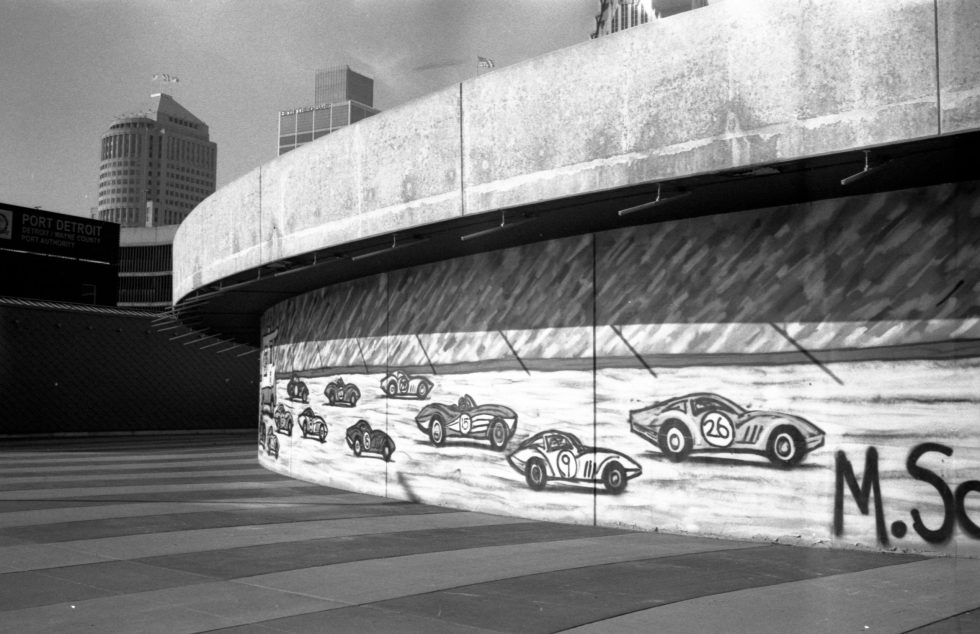 Racing car graffiti in Detroit on JCH Streetpan 400
