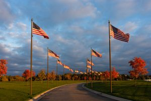 The Avenue of Flags at the Great Lakes National Cemetery