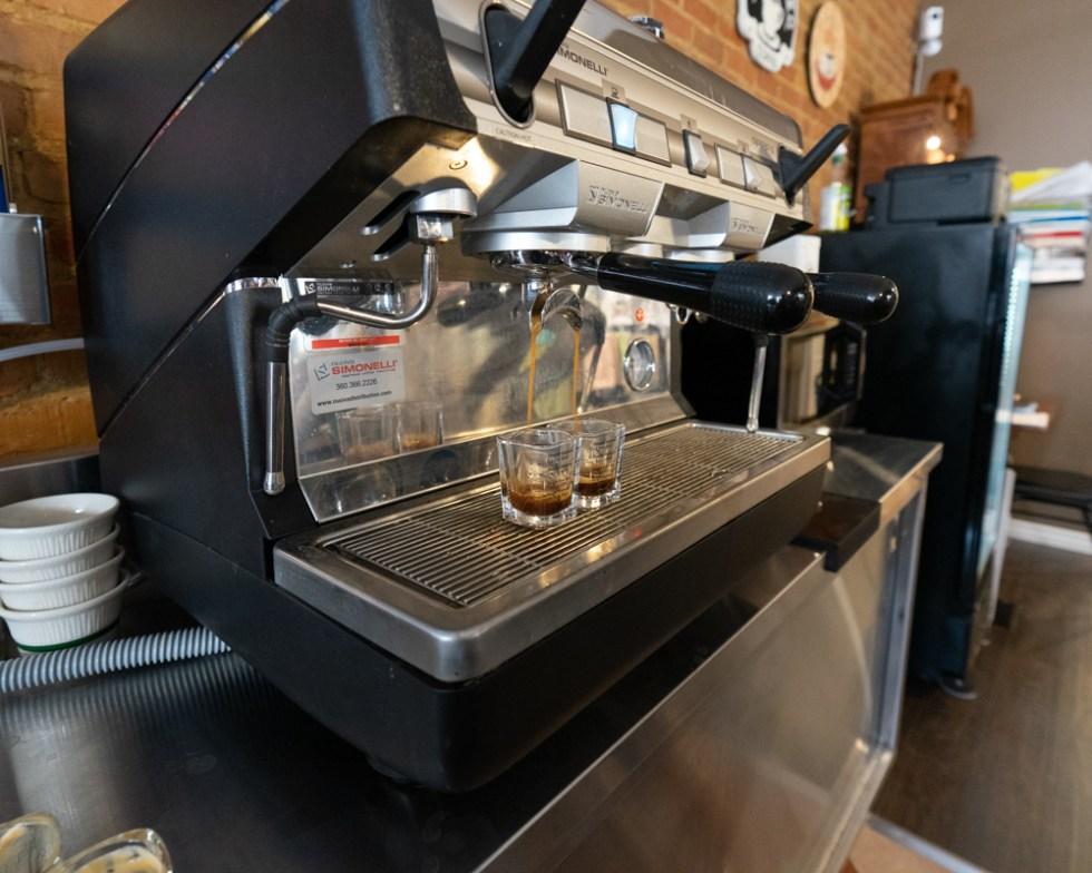 Espresso machine making double shots