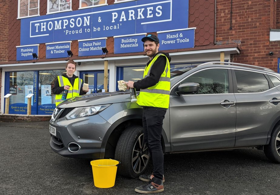 With shammy lathers and sponges at the ready for their HELP charity car wash, Thompson & Parkes' Stourport Manager Nikki Shipton and Supervisor Harry Dowling-Bingle.