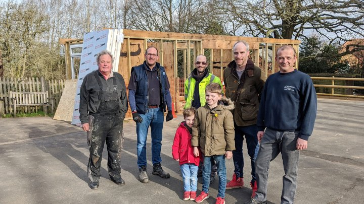 Project designer Ron Clowes, Adam Tarbet from Wordsley General Engineering Ltd, Thompson & Parkes Darrell Williams, Rob Matthews of Matthews Construction, Thompson & Parkes General Manager Gary Watts, (front) 4-year old Hugo Matthews and 8-year old Oscar Matthews.