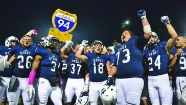UW-Stout defeated UW-Eau Claire, 30-7, to retain the War in I-94 trophy. / UW-Stout Sports Information photos